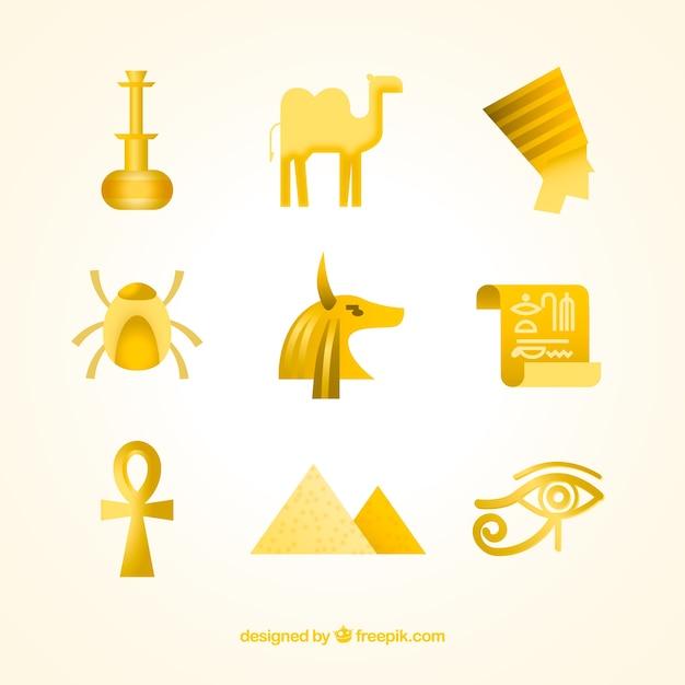 Collection De Dieux Et De Symboles égyptiens Avec Un Design Plat Vecteur gratuit
