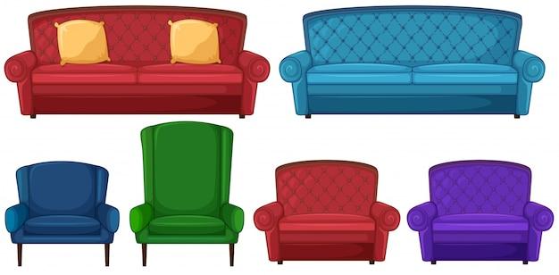 Une collection de différentes chaises Vecteur gratuit