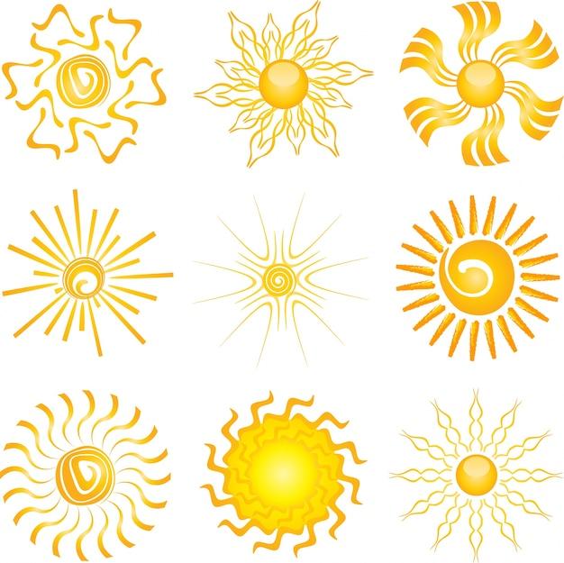 Collection De Différentes Conceptions D'icônes De Soleil Vecteur gratuit
