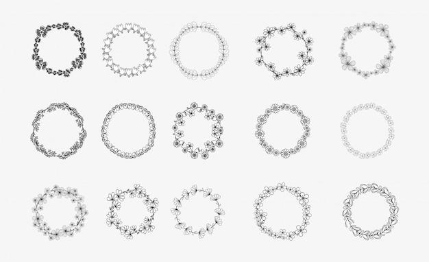 Collection de différentes couronnes de lauriers circulaires de laurier en silhouette noire et blanche, olive, blé et chêne Vecteur Premium