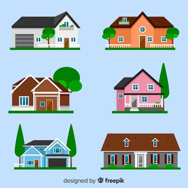 Collection de différentes maisons Vecteur gratuit