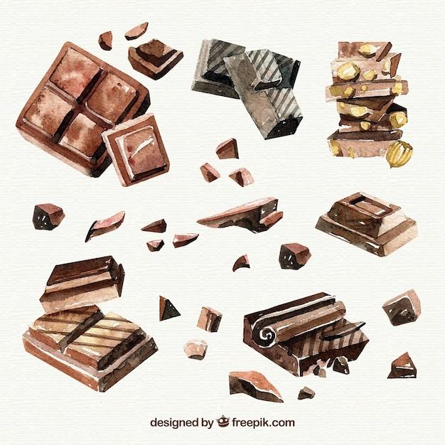 Collection de différentes pièces de chocolat dessinés à la main Vecteur gratuit