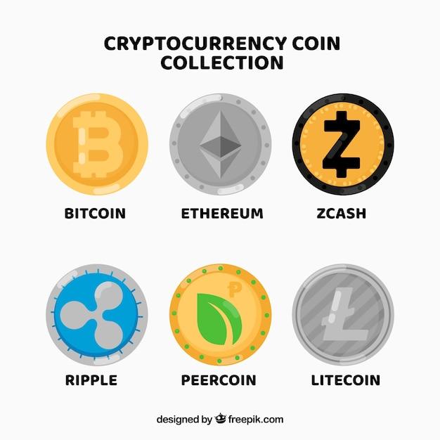 Collection de différentes pièces de crypto-monnaie Vecteur gratuit