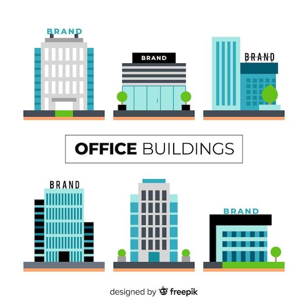Collection De Différents Immeubles De Bureaux Vecteur Premium