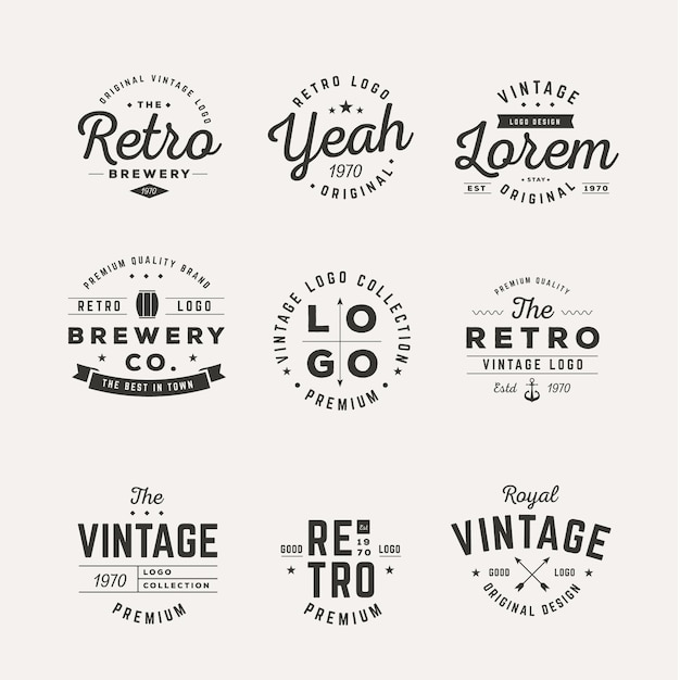 Collection De Différents Logos Vintage Vecteur gratuit
