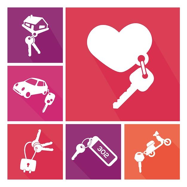 Collection différents porte-clés Vecteur gratuit