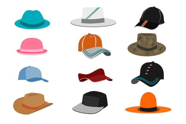 Collection de différents types de chapeaux sur fond blanc Vecteur Premium