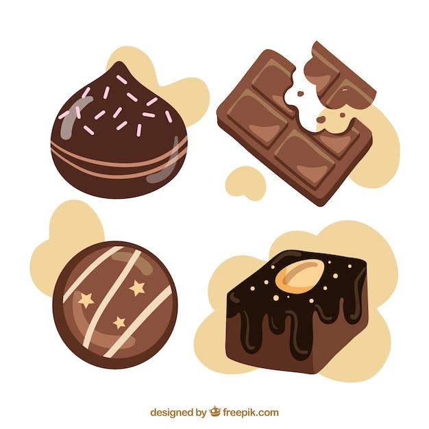 Collection de différents types de chocolat Vecteur gratuit