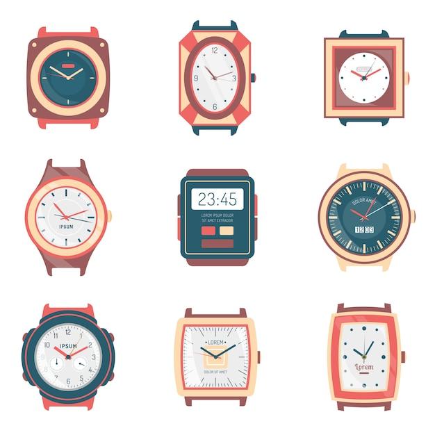Collection de différents types de montres icônes plat Vecteur gratuit