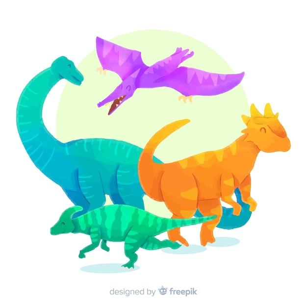 Collection de dinosaures à l'aquarelle Vecteur gratuit