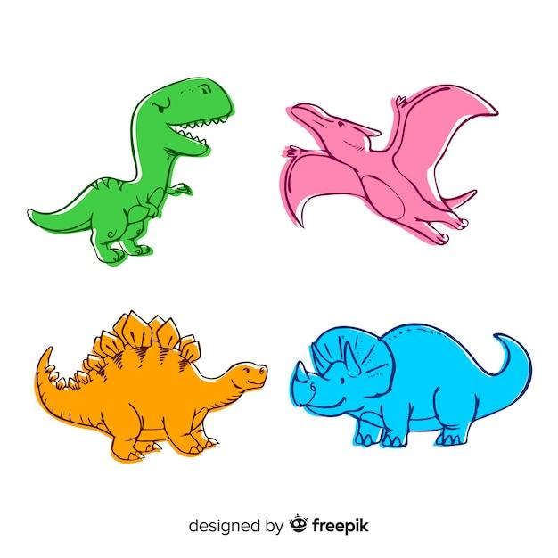 Collection de dinosaures colorés dessinés à la main Vecteur gratuit
