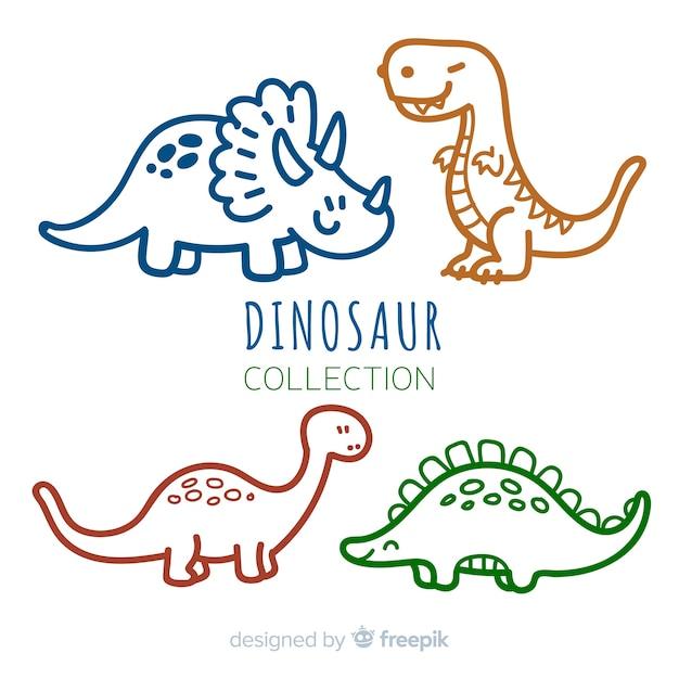Collection De Dinosaures Dessinés à La Main Vecteur Premium