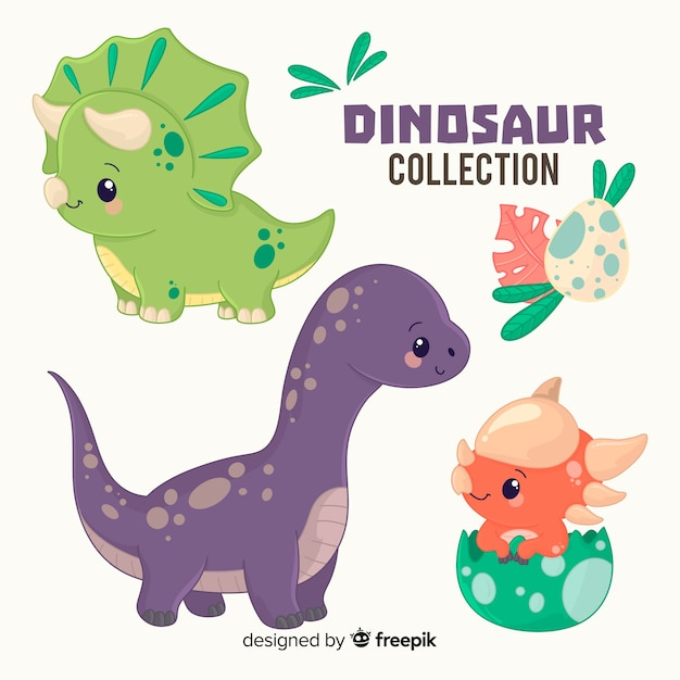 Collection De Dinosaures Dessinés à La Main Vecteur gratuit