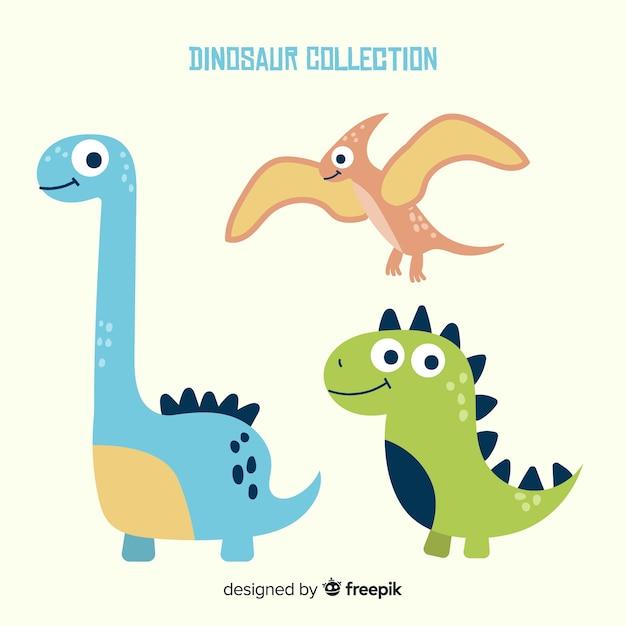 Collection de dinosaures dessinés à la main Vecteur gratuit