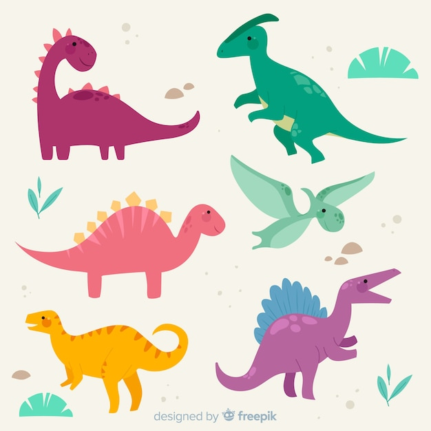 Collection De Dinosaures Plats Colorés Vecteur gratuit