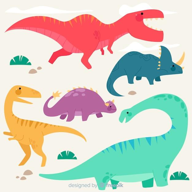 Collection de dinosaures plats colorés Vecteur gratuit