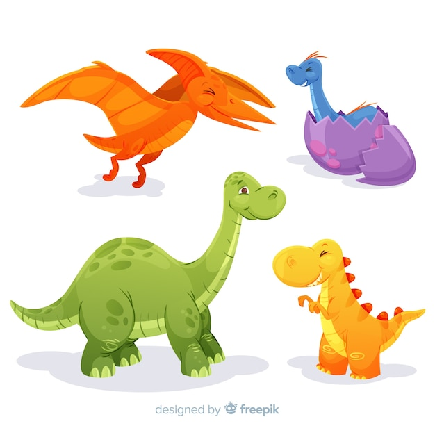 Collection de dinosaures plats Vecteur gratuit