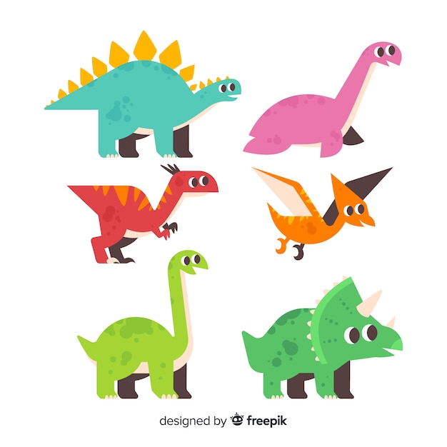 Collection de dinosaures plats Vecteur gratuit
