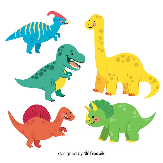 Collection De Dinosaures Vecteur gratuit
