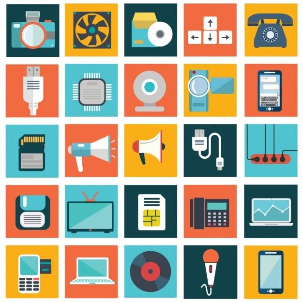 Collection de dispositifs technologic Vecteur gratuit