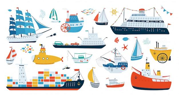 Collection De Divers Navires Isolés Sur Fond Blanc Dans Un Style Plat. Illustrations De Transport Par Eau. Vecteur Premium