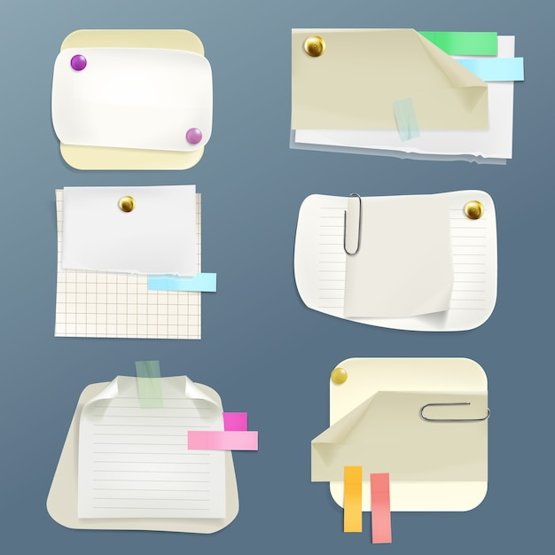 Collection de divers papiers avec des épingles et des clips. ruban adhésif et doublure propre, damier Vecteur gratuit