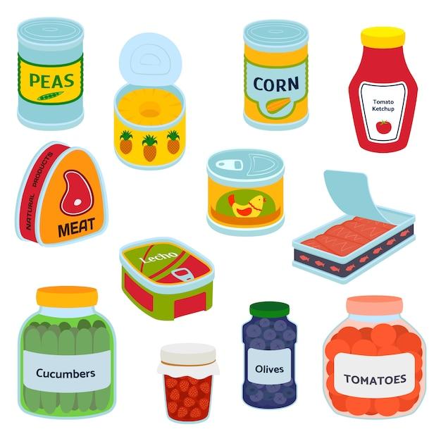 Collection de diverses boîtes de conserve en métal alimentaire conteneur d'épicerie et produit, stockage, étiquette plate en aluminium conserver illustration vectorielle. Vecteur Premium