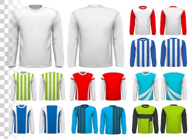 Collection De Diverses Chemises à Manches Longues Pour Hommes. Modèle De Conception. La Chemise Est Transparente Et Peut être Utilisée Comme Modèle Avec Votre Propre Design. Vecteur Premium