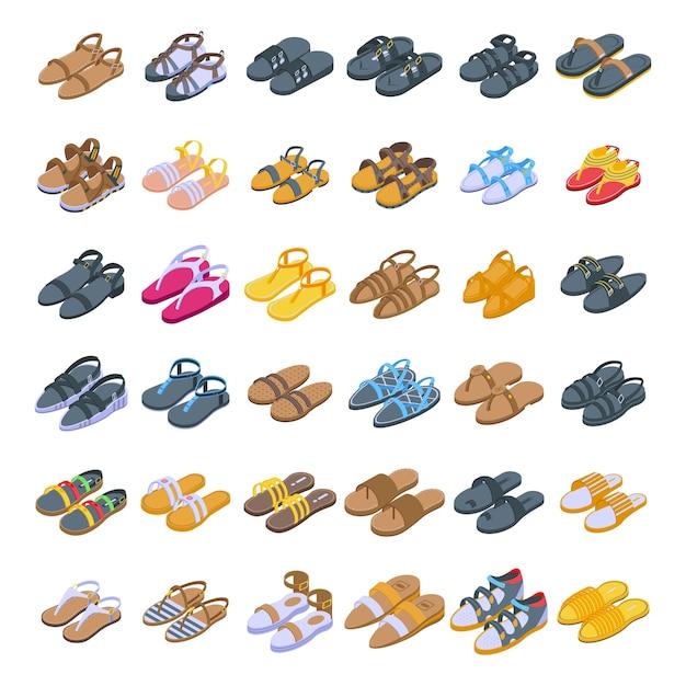 Collection De Diverses Sandales Vecteur Premium
