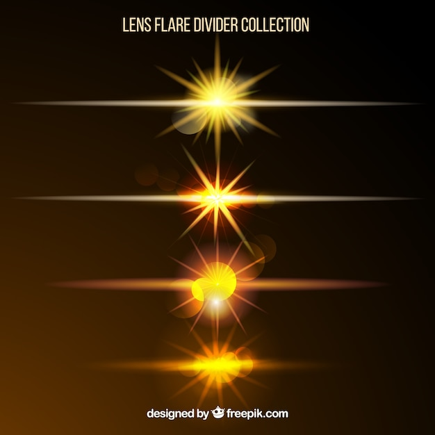 Collection de diviseur flare lentille dorée Vecteur gratuit