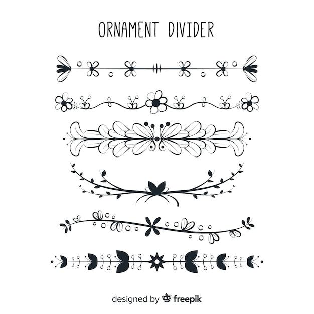 Collection de diviseur d'ornement dessiné belle main Vecteur gratuit
