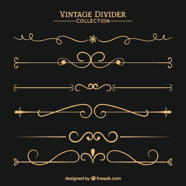 Collection de diviseurs dans le style vintage Vecteur gratuit
