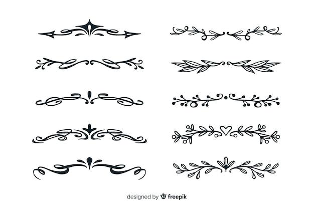 Collection de diviseurs dessinés à la main Vecteur gratuit