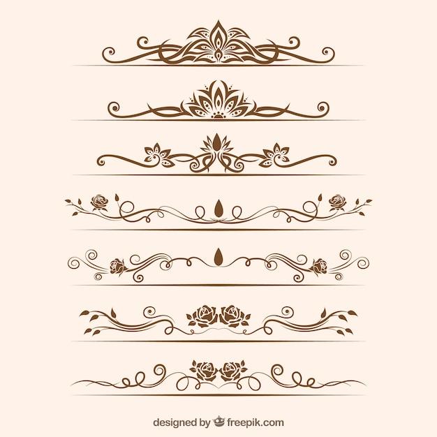 Collection de diviseurs avec des ornements floraux Vecteur gratuit
