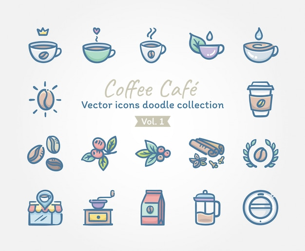 Collection de doodle d'icônes vectorielles café café Vecteur Premium