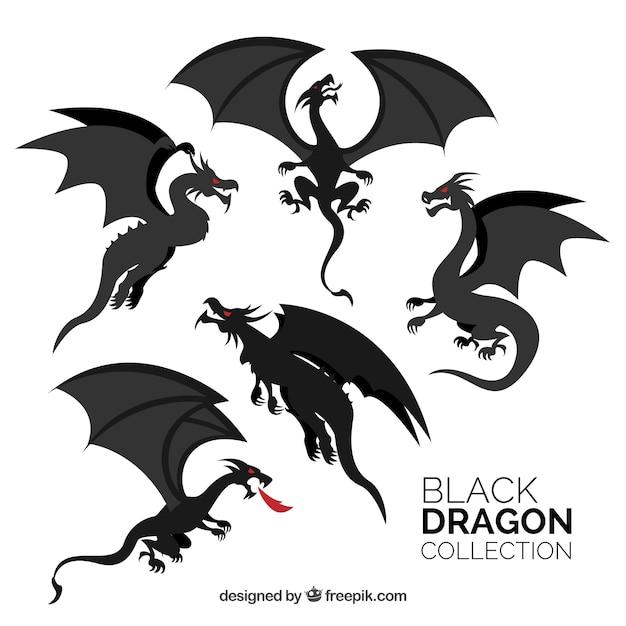 Collection De Dragons En Couleur Noire Vecteur Premium