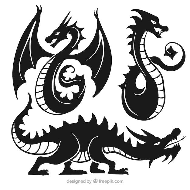 Collection De Dragons En Couleur Noire Vecteur gratuit
