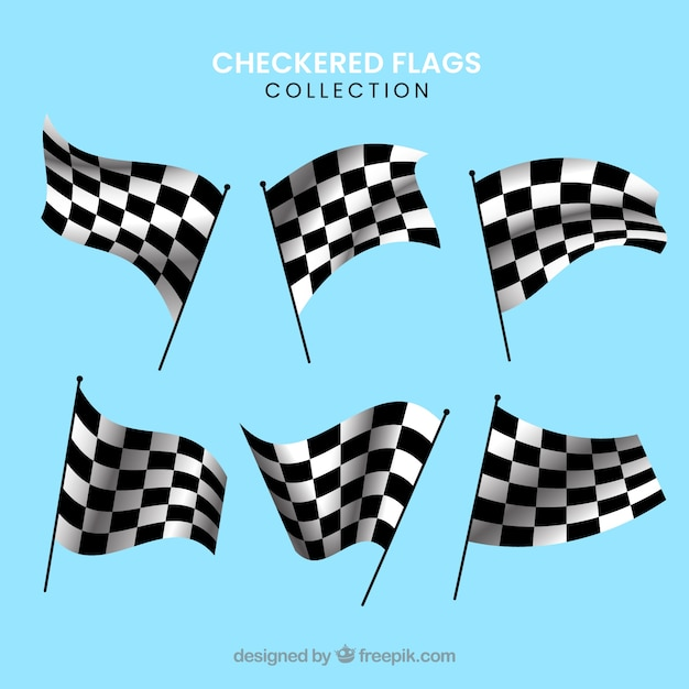 Collection de drapeau à damier de course avec un design réaliste Vecteur gratuit