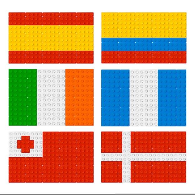 Collection de drapeaux lego Vecteur Premium