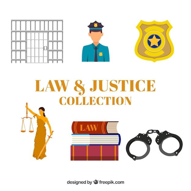 Collection de droit et de justice avec un design plat Vecteur gratuit