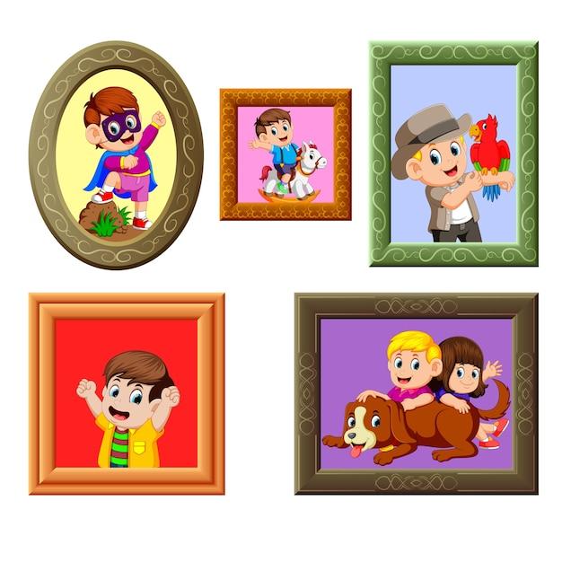Collection du cadre de photos avec l'image différente Vecteur Premium