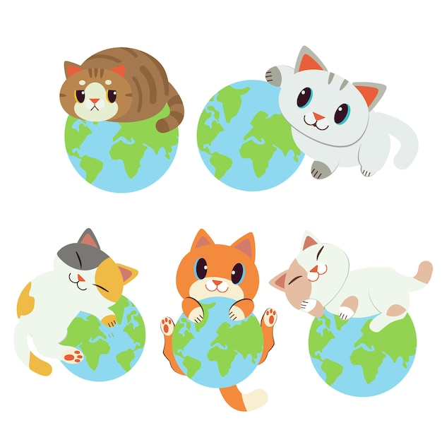 Collection Du Monde Est à Moi. Le Personnage Chat Mignon Qui Dort Sur La Terre. Sauver La Terre Des Chats. Vecteur Premium