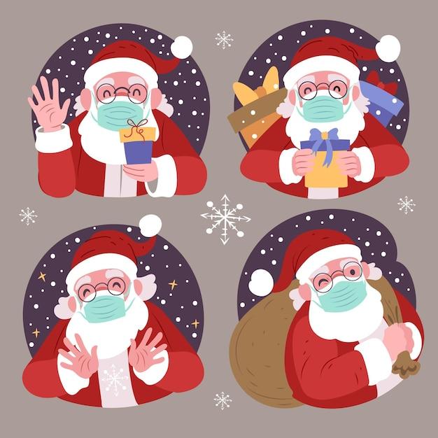 Collection Du Père Noël Portant Un Masque Facial Vecteur gratuit
