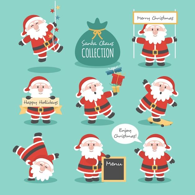 Collection Du Père Noël Vecteur gratuit