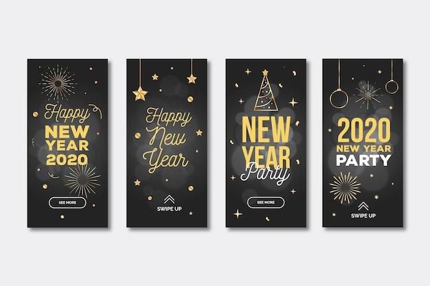 Collection Du Récit Instagram De La Fête Du Nouvel An 2020 Vecteur gratuit