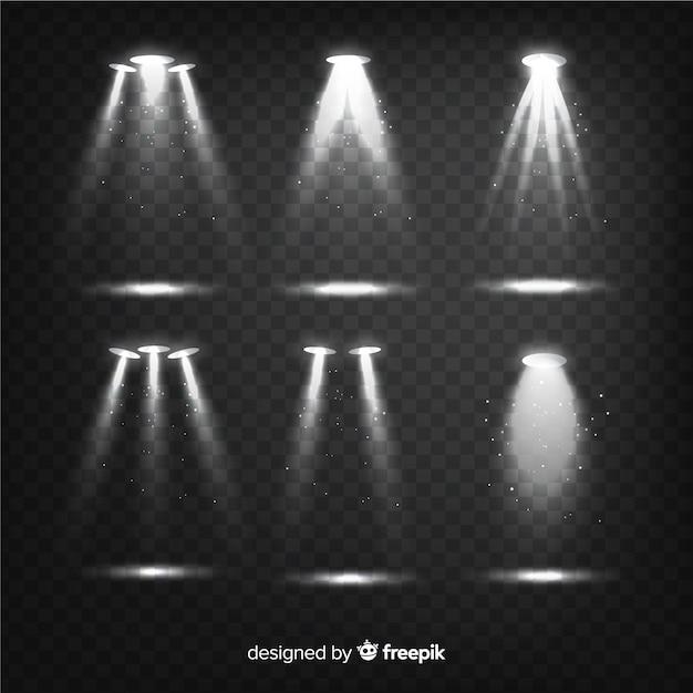 Collection d'éclats de lumière réalistes Vecteur gratuit