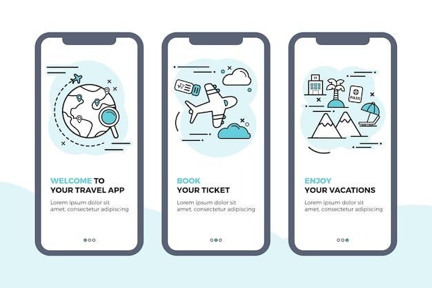 Collection D'écrans D'application D'intégration De Voyage Vecteur gratuit