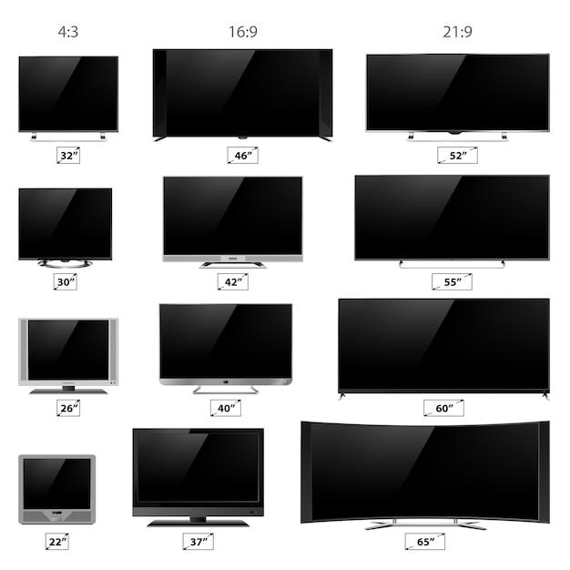 Collection d'écrans de télévision Vecteur Premium