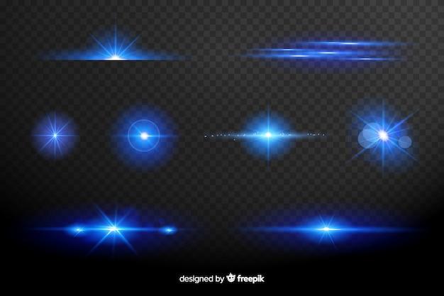 Collection D'effet De Lumières Bleues Vecteur gratuit
