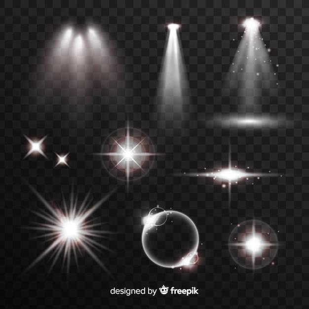 Collection d'effets de lumière blanche Vecteur gratuit